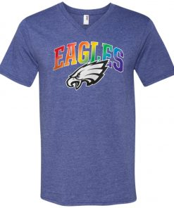 Philadelphia Eagles Rainbow V-Neck T-Shirt