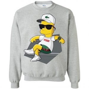 Bart Simpson With Lacoste Hat Yeezy Shoes Gucci Snake Short Sweatshirt