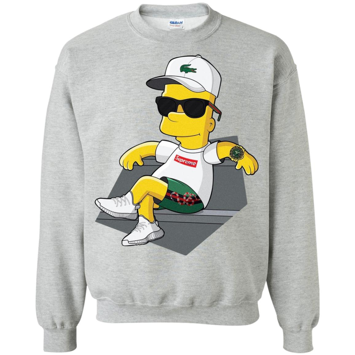 7e571e52 Bart Simpson With Lacoste Hat Yeezy Shoes Gucci Snake Short Sweatshirt