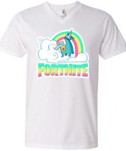 Fortnite Battle Royale Unicorn Rainbow V-Neck T-Shirt