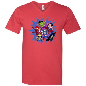 Chibi Heroes By Real Warner V-Neck T-Shirt
