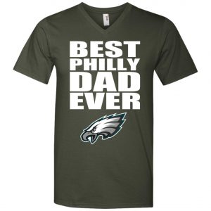 Best Philly Dad Ever Philadelphia Eagles Fandom Father's Day Gift V-Neck T-Shirt
