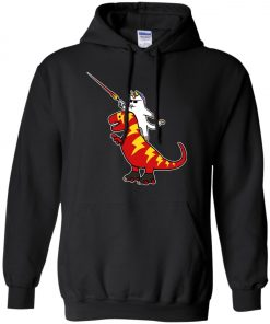 Unicorn Cat Riding Lightning T-Rex Hoodie