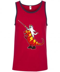 Unicorn Cat Riding Lightning T-Rex Tank Top