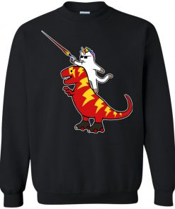 Unicorn Cat Riding Lightning T-Rex Sweatshirt amazon best seller