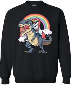 Unicorn Riding T-Rex Dinosaur Funny Rainbow Sweatshirt amazon best seller