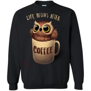 Owl Coffee Life Begins After Coffee Sweatshirt amazon best seller