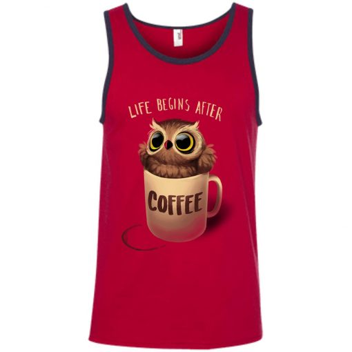 Owl Coffee Life Begins After Coffee Tank Top