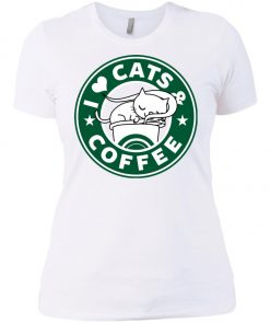 Love Cat And Starbucks Coffee Women's T-Shirt