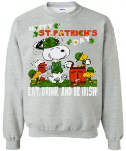 St Patricks Day Snoopy Eat Drink And Be Irish Sweatshirt Amazon Best Seller