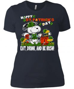 St Patricks Day Snoopy Eat Drink And Be Irish Women's T-Shirt Amazon Best Seller
