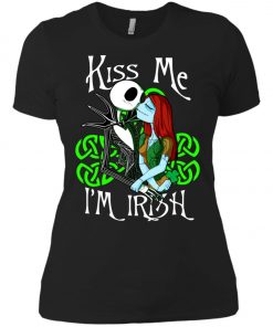 Jack Skellington Nightmare Kiss Me I Am Irish Women's T-Shirt Amazon Best Seller