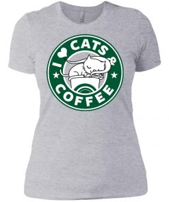 Love Cat And Starbucks Coffee Women's T-Shirt amazon best seller