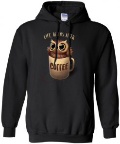 Owl Coffee Life Begins After Coffee Hoodie amazon best seller
