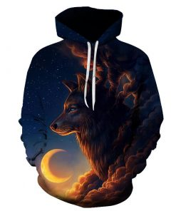 The Wolf And The Moon 3D Hoodie Amazon Best seller