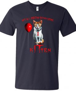 IT Horror Cats We All Meow Down Here Kitten V-Neck T-Shirt