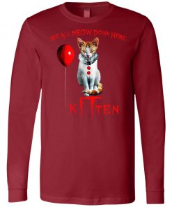 IT Horror Cats We All Meow Down Here Kitten Long Sleeve