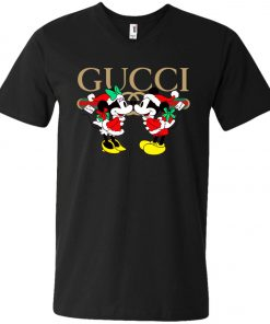 Gucci x Disney Mickey Christmas V-Neck T-Shirt Amazon Best seller