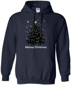 Meowy Christmas Cat Lover Christmas Tree Hoodie Amazon best Seller