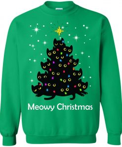 Meowy Christmas Cat Lover Christmas Tree Sweatshirt Amazon best Seller