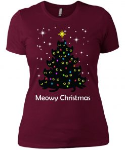 Meowy Christmas Cat Lover Christmas Tree Women's T-Shirt Amazon best Seller