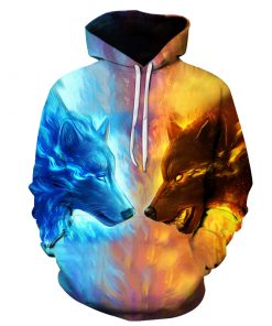 Fire vs Ice Wolf 3D Hoodie Amazon Best seller
