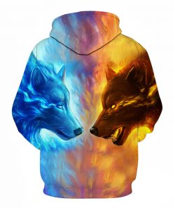 Fire vs Ice Wolf 3D Hoodie