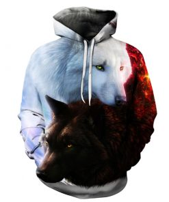 Black and White Wolf 3D Hoodie Amazon Best seller