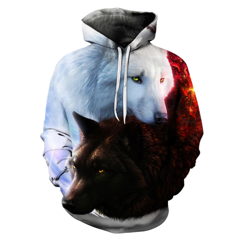 Black And White Wolf 3d Hoodie