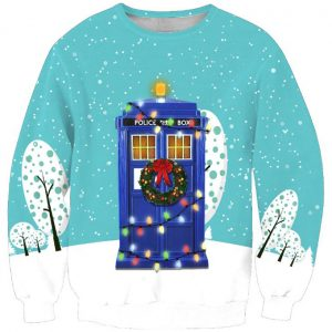 Doctor Who TARDIS Telephone Ugly Christmas Sweater Amazon Best Seller