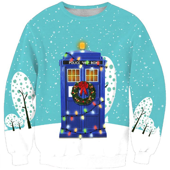 Doctor Who Tardis Telephone Ugly Christmas Sweater Shop Ugly