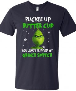 Grinch Christmas Buckle Up Butter Cup V-Neck T-Shirt Amazon Best Seller