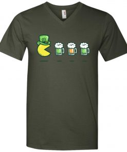 Irish Pacman Eat Beer V-Neck T-Shirt