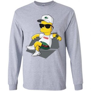 Bart Simpson With Lacoste Hat Yeezy Shoes Gucci Snake Short Youth Sweatshirt