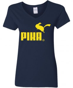 Pokemon Pikachu Puma Pika Woman's V-Neck T-Shirt