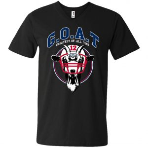 GOAT 12 Patriots Tom Brady V-Neck T-Shirt