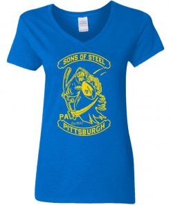 Son Of Steel Pittsburgh Steeler Woman's V-Neck T-Shirt