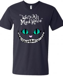 Disney Grinning Cheshire Cat We Are All Mad Here V-Neck T-Shirt