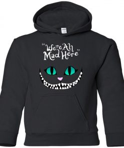 Disney Grinning Cheshire Cat We Are All Mad Here Youth Hoodie