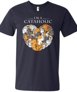 I Am A Cataholic A Cat Lover V-Neck T-Shirt