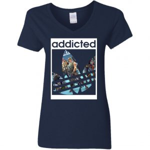 Fortnite Addicted With Adidas Logo Woman's V-Neck T-Shirt