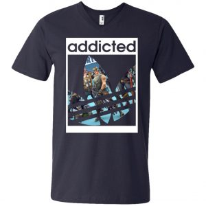 Fortnite Addicted With Adidas Logo V-Neck T-Shirt