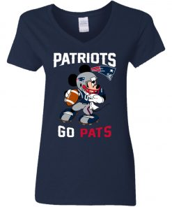 NFL Patriots Go Pats Mickey Woman's V-Neck T-Shirt