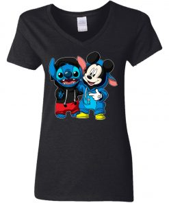 Stitch and Mickey Change Woman's V-Neck T-Shirt
