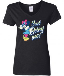 Minnie Mouse Just Being Me Woman's V-Neck T-Shirt