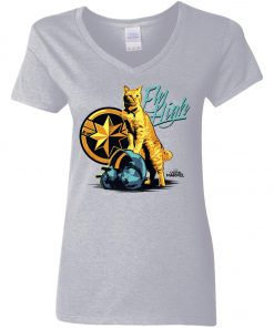 Captain Marvel Cat Goose Fly High Woman's V-Neck T-Shirt