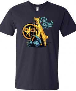Captain Marvel Goose Cat Fly High V-Neck T-Shirt