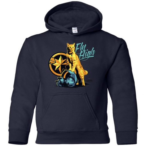 Captain Marvel Goose Cat Fly High Youth Hoodie