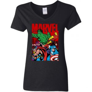 Marvel Avenger Vintage Poster Woman's V-Neck T-Shirt