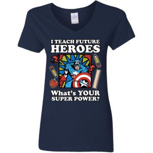 I Teach Future Heroes Teacher's Power Woman's V-Neck T-Shirt